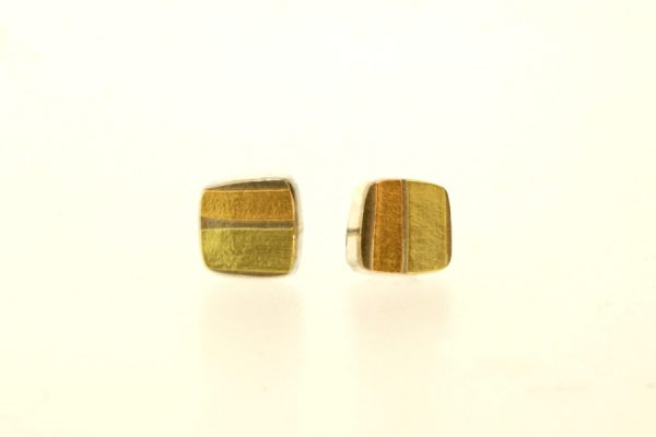 Silver & 18ct Gold Earstuds by Robert Feather Jewellery