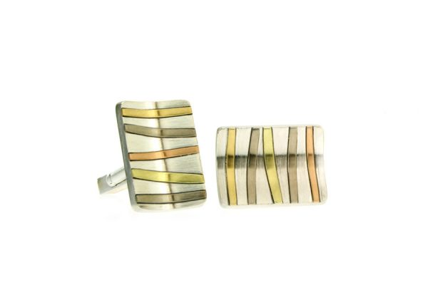 Rectangular Silver & 18ct Gold Striped Cufflinks by Robert Feather Jewellery