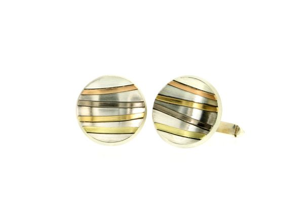 Round Silver & 18ct Gold Striped Cufflinks by Robert Feather Jewellery