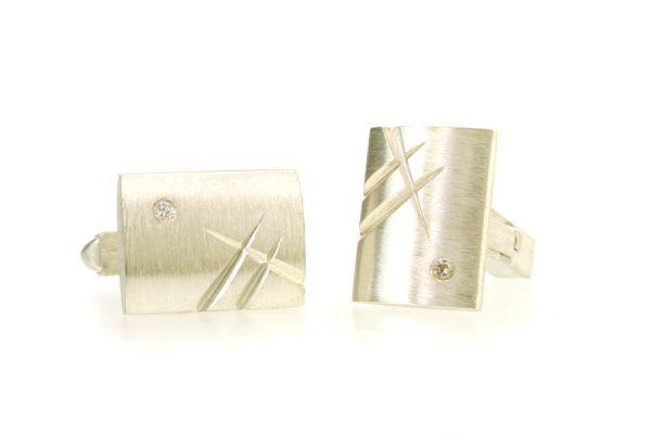 Rectangular Silver Diamond Set Cufflinks by Robert Feather Jewellery