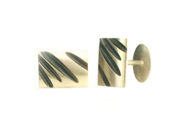 Fluted Design Silver Cufflinks by Robert Feather Jewellery