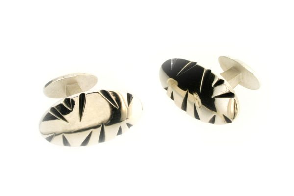 Oval Notch Design Silver Cufflinks by Robert Feather Jewellery