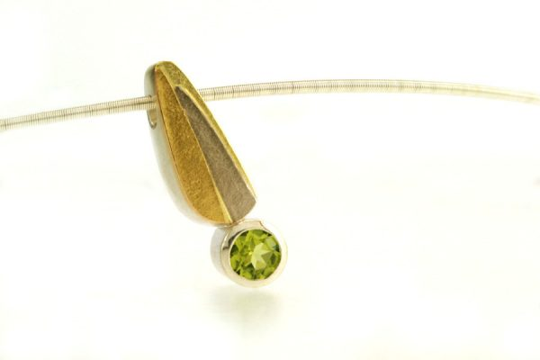Peridot Leaf Design Silver & 18ct Gold Necklace : Robert Feather Jewellery