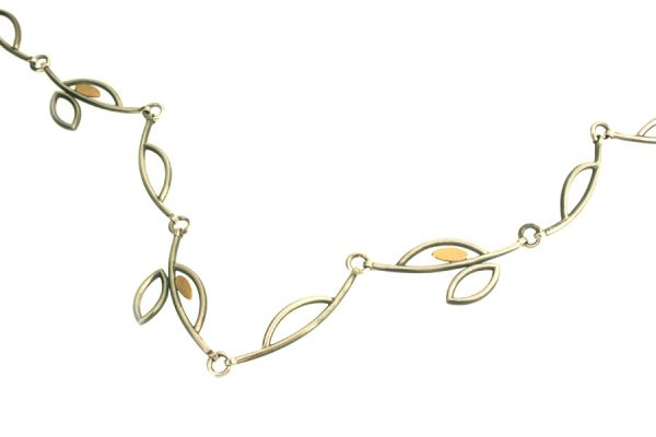 Frame Design Silver & 18ct Gold Necklace : 11 Link by Robert Feather Jewellery