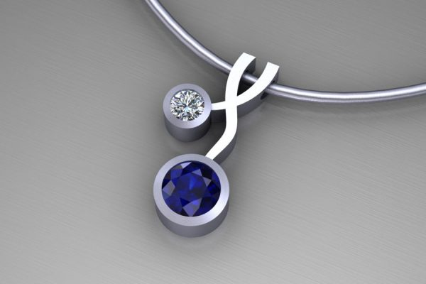 Weave Design 18ct White Gold Necklace with 5mm Sapphire & 3mm Brilliant Cut Diamond : Length 17mm by Robert Feather Jewellery