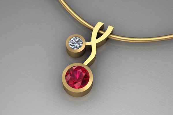 Weave Design 18ct Yellow Gold Necklace with 5mm Ruby & 3mm Brilliant Cut Diamond : Length 17mm by Robert Feather Jewellery