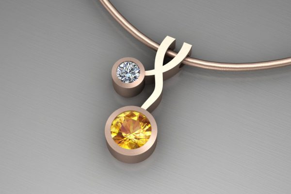 Weave Design 18ct Red Gold Necklace with 5mm Yellow Sapphire & 3mm Brilliant Cut Diamond : Length 17mm by Robert Feather Jewellery
