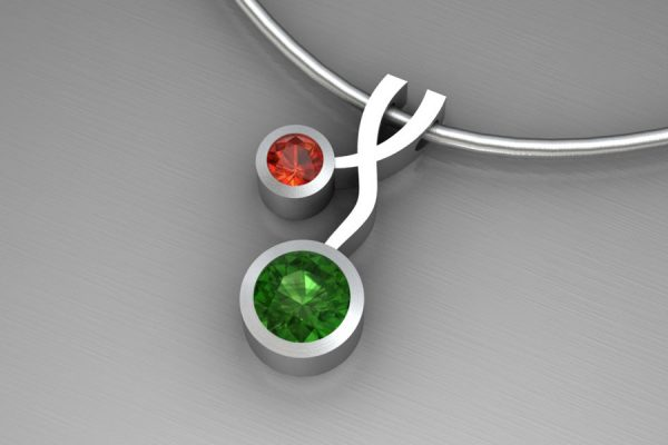 Weave Design Silver Necklace with 5mm Green Tourmaline & 3mm Madeira Citrine : Length 17mm by Robert Feather Jewellery