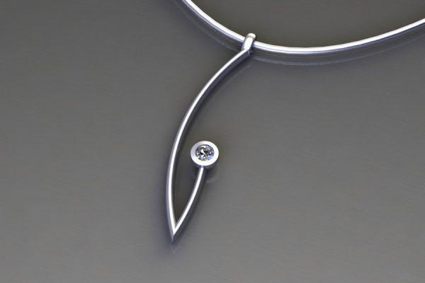Diamond Platinum Branch Pendant Design by Robert Feather Jewellery