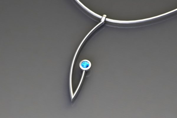 Blue Topaz Silver Branch Pendant Design by Robert Feather Jewellery