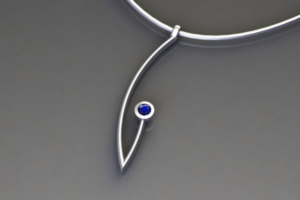 Sapphire White Gold Branch Pendant Design by Robert Feather Jewellery