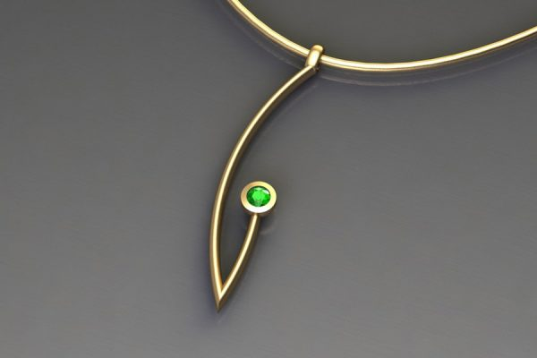 Tsavorite Yellow Gold Branch Pendant Design by Robert Feather Jewellery
