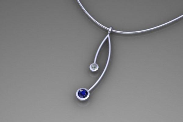 Platinum Sapphire & Diamond Branch Pendant Design by Robert Feather Jewellery
