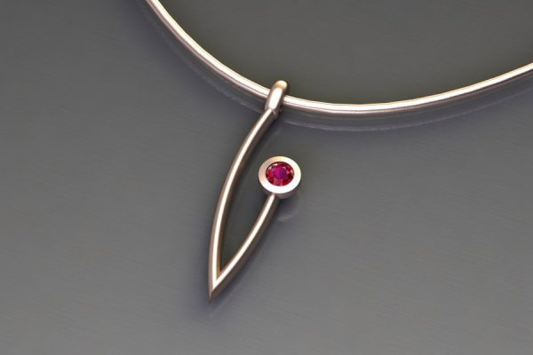 Ruby Red Gold Branch Pendant Design by Robert Feather Jewellery