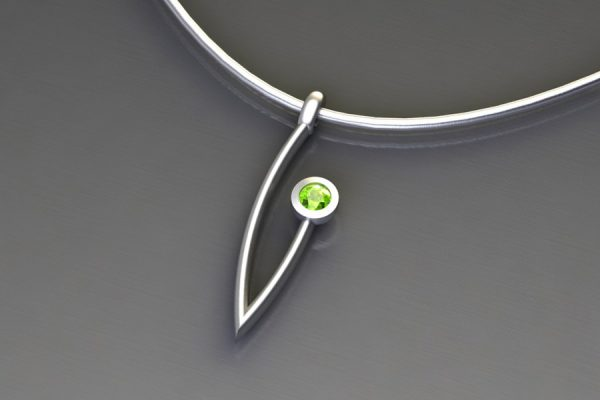 Peridot Silver Branch Pendant Design by Robert Feather Jewellery