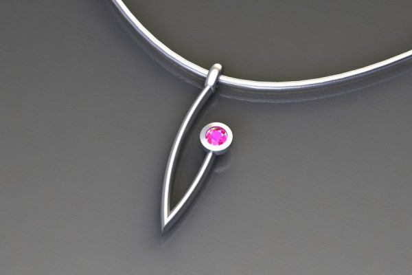 Pink Sapphire White Gold Branch Pendant Design by Robert Feather Jewellery