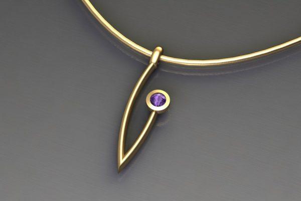 Purple Sapphire Yellow Gold Branch Pendant Design by Robert Feather Jewellery