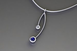 Sapphire & Diamond Platinum Branch Pendant Design by Robert Feather Jewellery