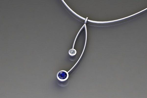 Sapphire & Diamond Platinum Branch Pendant Design by Robert Feather Jewellery