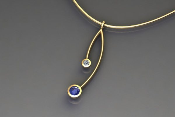 Tanzanite & Diamond Yellow Gold Branch Pendant Design by Robert Feather Jewellery