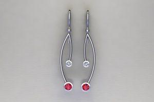 Branch Design Platinum Ruby & Diamond Earrings by Robert Feather Jewellery