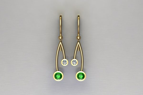 Short Branch Design Tsavorite & Diamond Yellow Gold Earrings by Robert Feather Jewellery