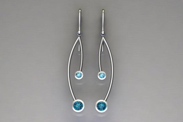 Branch Design Blue Topaz Silver Earrings by Robert Feather Jewellery