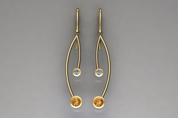 Branch Design Orange Sapphire & Diamond Yellow Gold Earrings by Robert Feather Jewellery