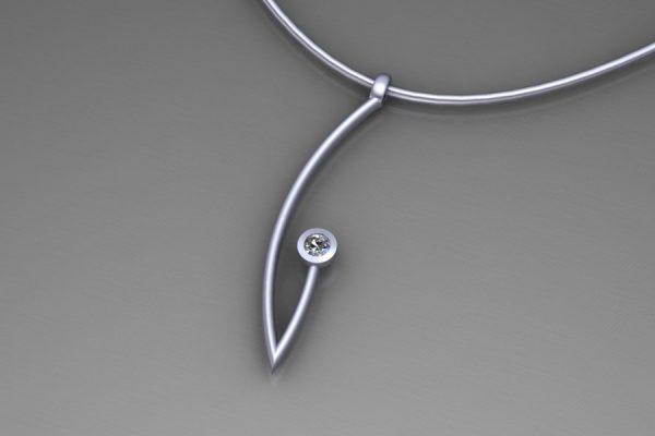 Platinum & Diamond Branch Pendant Design by Robert Feather Jewellery