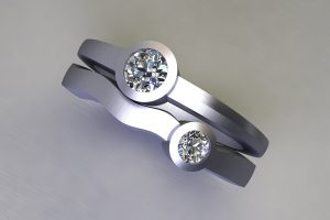 Two Stone Round Brilliant Cut Diamond Platinum Ring Design by Robert Feather Jewellery