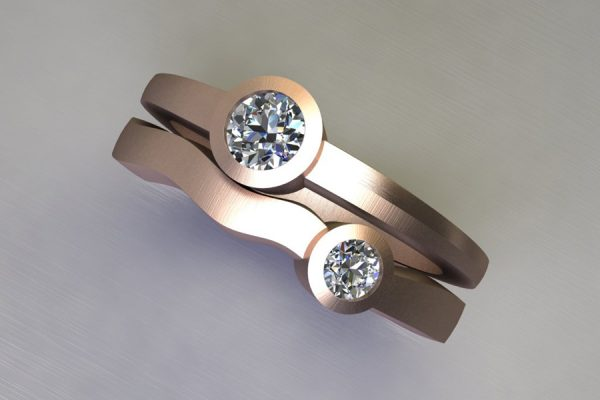 Two Stone Round Brilliant Cut Diamond Red Gold Ring Design by Robert Feather Jewellery
