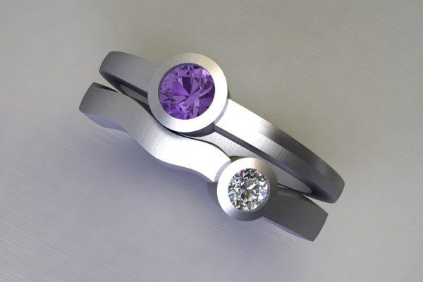 Round Purple Sapphire & Diamond White Gold Ring Design by Robert Feather Jewellery