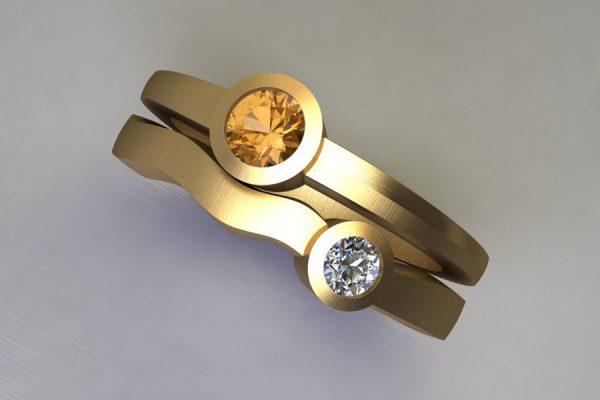 Round Orange Sapphire & Diamond Yellow Gold Ring Design by Robert Feather Jewellery