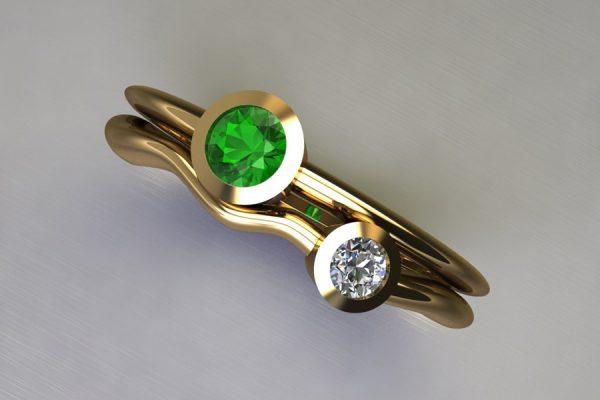 Round Tsavorite & Diamond Yellow Gold Ring Design by Robert Feather Jewellery