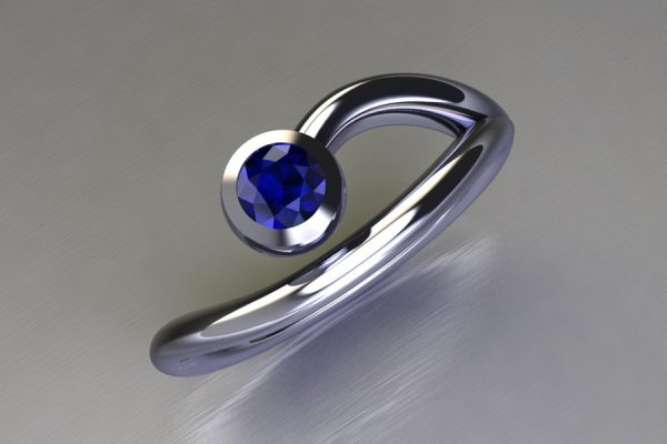 Sapphire Platinum Ring Design by Robert Feather Jewellery
