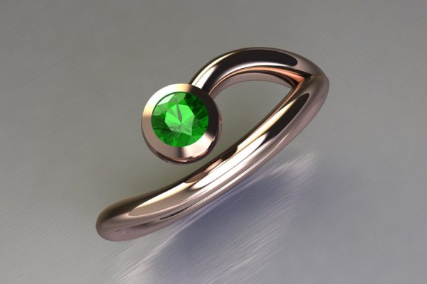Tsavorite Red Gold Ring Design by Robert Feather Jewellery