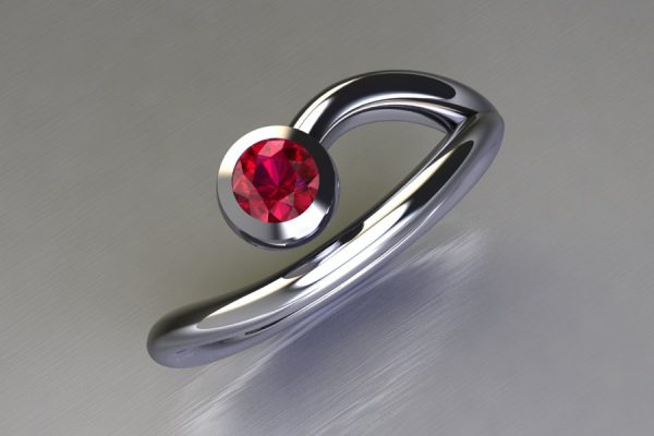 Ruby White Gold Ring Design by Robert Feather Jewellery
