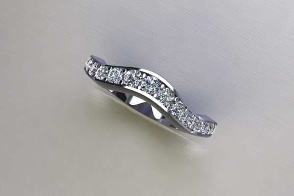 Graduated Diamond Set Platinum Ring Design by Robert Feather Jewellery