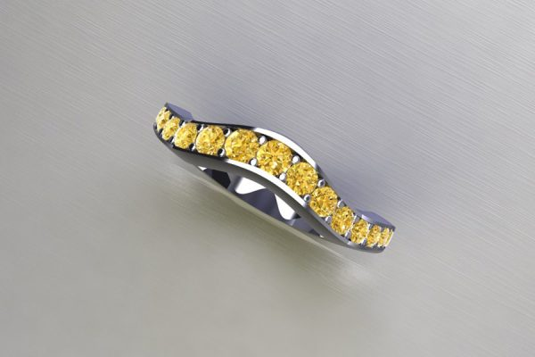 Graduated Yellow Diamond Set Platinum Ring Design by Robert Feather Jewellery