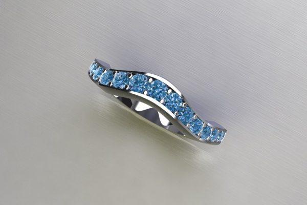 Graduated Blue Diamond Set Platinum Ring Design by Robert Feather Jewellery