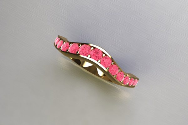 Graduated Pink Diamond Set 18ct Gold Ring Design by Robert Feather Jewellery