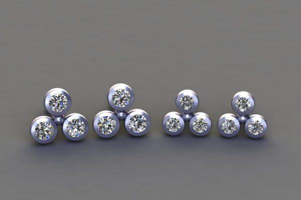 Diamond Platinum 3Round Ear Stud Design by Robert Feather Jewellery