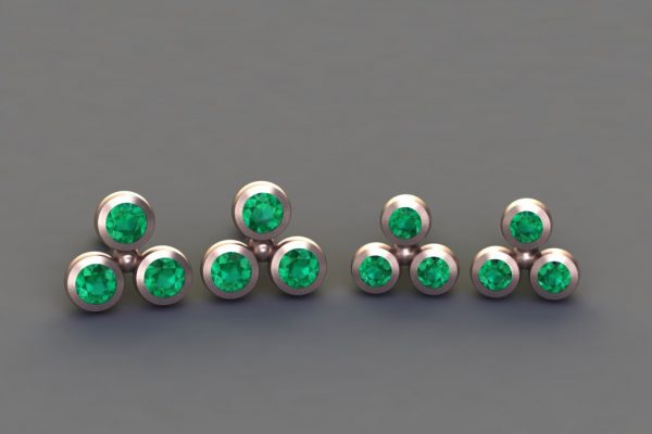 Emerald Red Gold 3Round Ear Stud Design by Robert Feather Jewellery