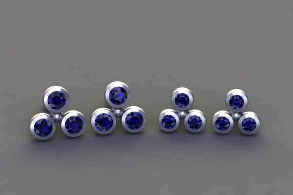 Sapphire White Gold 3Round Ear Stud Design by Robert Feather Jewellery
