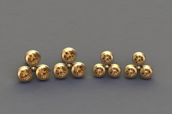 Orange Sapphire Yellow Gold 3Round Ear Stud Design by Robert Feather Jewellery