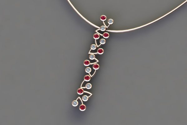 Ruby & Diamond 18ct Red Gold Branch Pendant Design by Robert Feather Jewellery