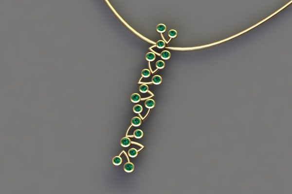 Emerald Yellow Gold Branch Pendant Design by Robert Feather Jewellery