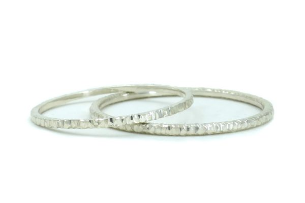 Crease Hammered Silver Bangles by Robert Feather Jewellery