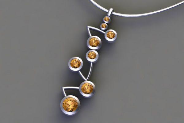 Platinum Orange Sapphire Branch Pendant Design by Robert Feather Jewellery