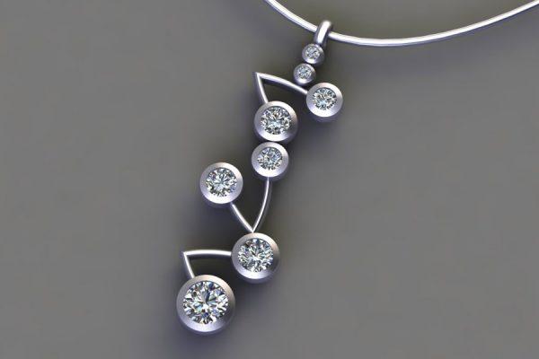 Platinum Diamond Branch Pendant Design by Robert Feather Jewellery